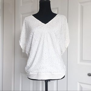 Tops - Express Blouse White Sequined Sleeveless Size M
